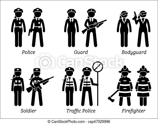 Public safety jobs and occupations for women. Artworks depict female ...