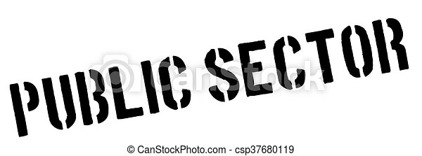 Public Sector black rubber stamp on white - csp37680119
