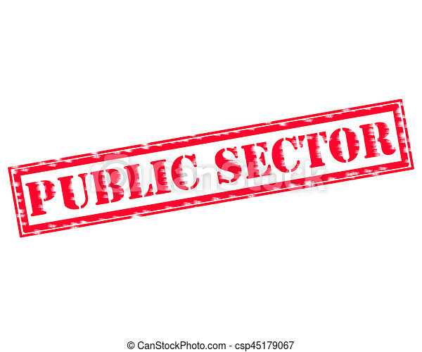 PUBLIC SECTOR RED Stamp Text on white backgroud - csp45179067
