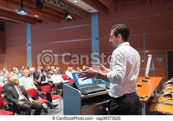 Public speaker giving talk at Business Event. - csp38373525