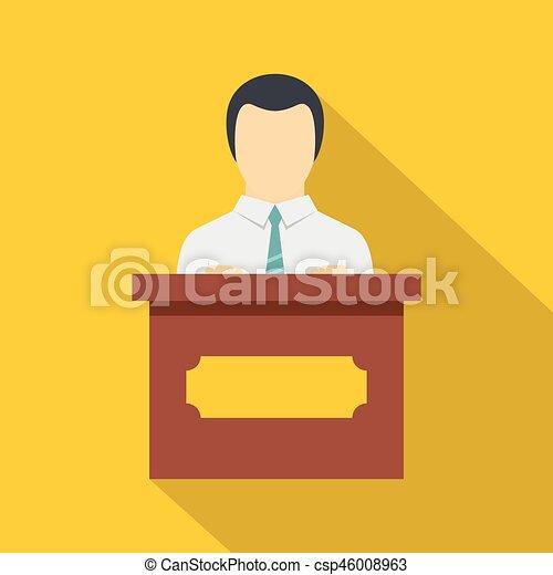 Public speaker icon, flat style - csp46008963