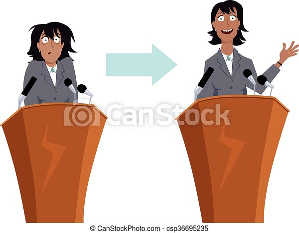 public speaking training anxious businesswoman character before and rh canstockphoto com public speaker clipart public speaking audience clipart
