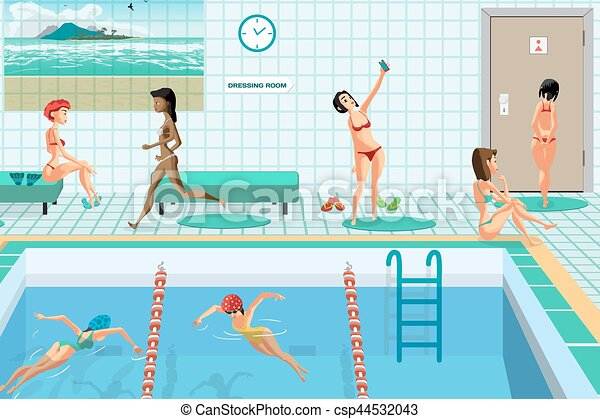 Public swimming pool inside with blue water women engaged eps vector search clip art How to draw swimming pool water