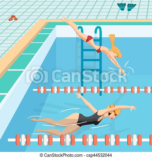 Public swimming pool inside with blue water young women in eps vector search clip art How to draw swimming pool water