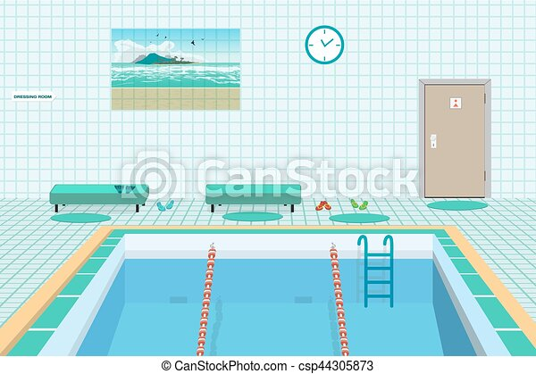 Public swimming pool inside with blue water flat cartoon for Swimming pool drawing