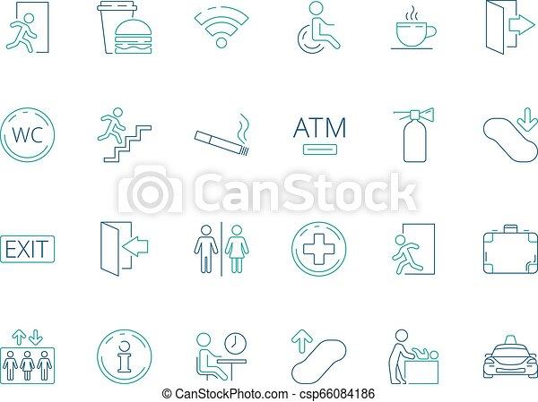 Public symbols. Navigate pictogram disabled toilet wifi bathroom vector public icon collection - csp66084186