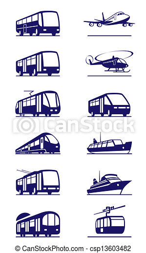 Public transportation icon set - csp13603482