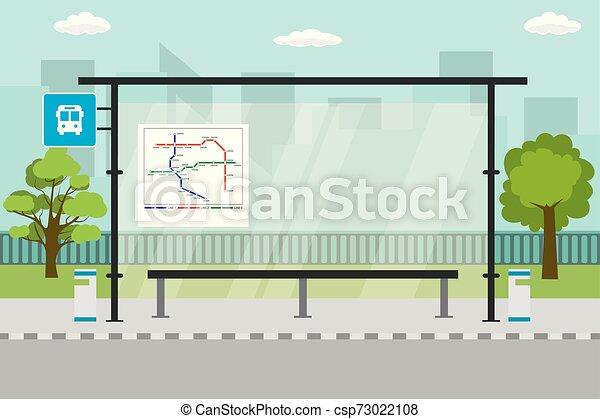 public, vide, moderne, transport, paysage, arrêt, urbain, fond - csp73022108