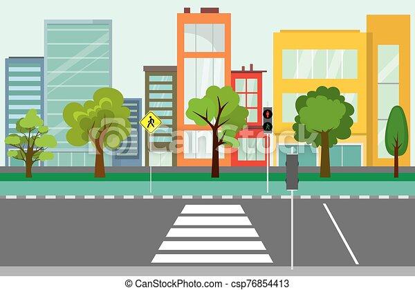 public, vide, route, arbres, rue, ville - csp76854413