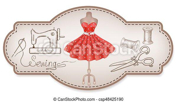 Encuadre decorativo para etiquetas publicitarias de taller con trajes a mano y herramientas de costura - csp48425190