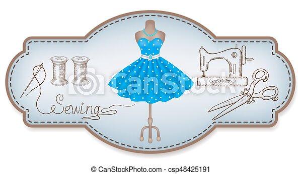 Encuadre decorativo para etiquetas publicitarias de taller con trajes a mano y herramientas de costura - csp48425191