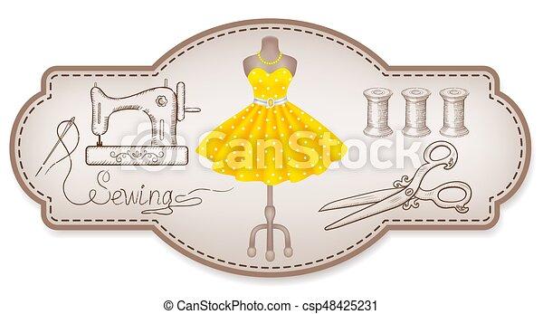 Encuadre decorativo para etiquetas publicitarias de taller con trajes a mano y herramientas de costura - csp48425231