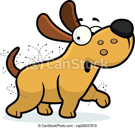 puces, dessin animé, chien - csp59037819