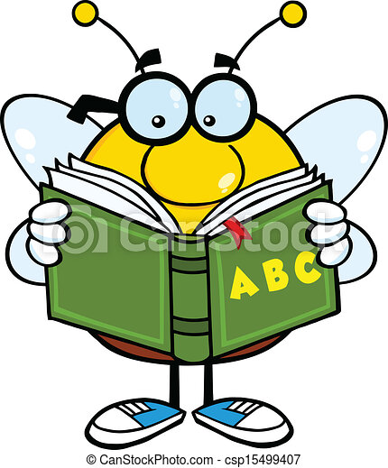pudgy bee reading a abc book pudgy bee cartoon mascot vector rh canstockphoto com Bee Reading a Book bee reading book clipart