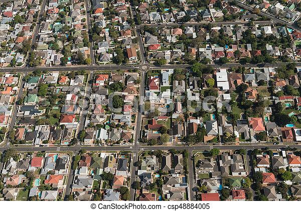 Ciudad del Cabo (suburbio) vista aérea - csp48884005