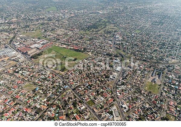 Ciudad del Cabo (suburbio) vista aérea - csp49700065