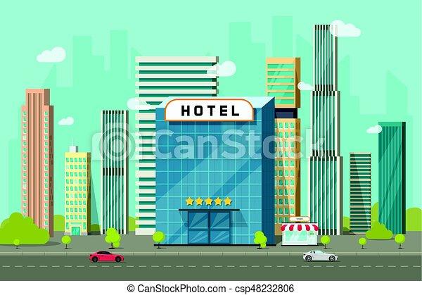 Hotel en la ilustración de vectores de la ciudad, edificio de hoteles de dibujos animados en la calle y paisajes de rascacielos grandes de la ciudad, un clip de paisajes de paisajes de paisaje urbanos - csp48232806