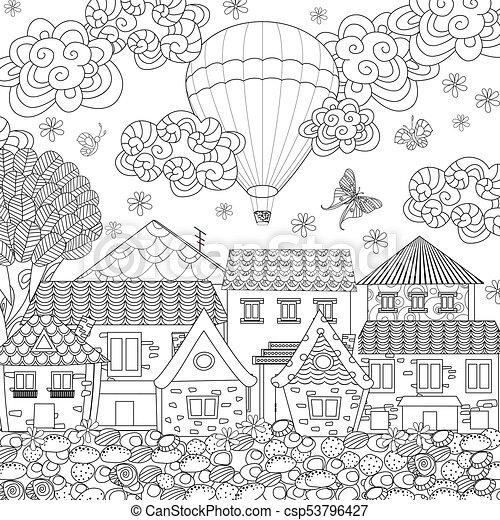 Pueblo, colorido, cómodo, globo, cielo, aire, caliente, libro, su.