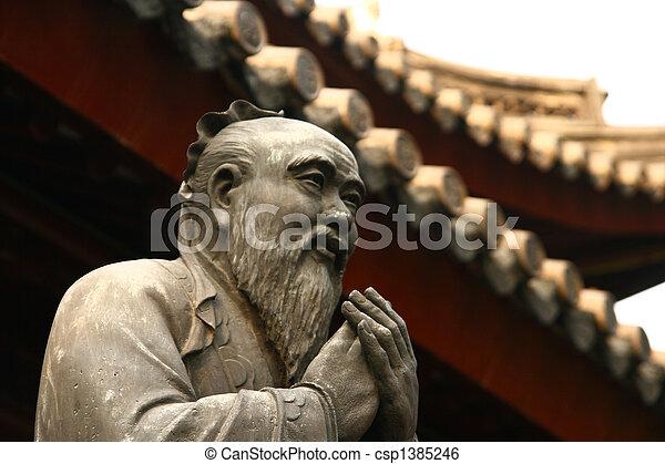 Estatua confucian templo Shanghai - csp1385246