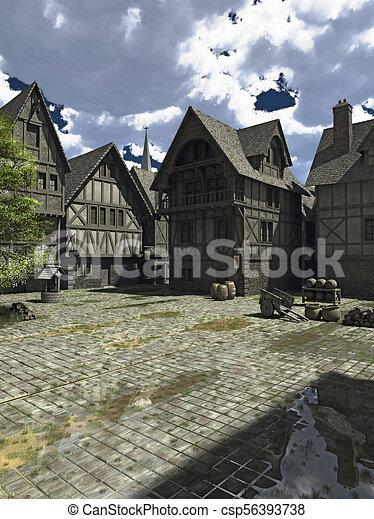 Medieval o Plaza Fantasía - csp56393738