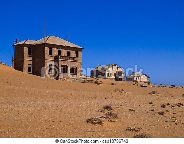 pueblo fantasma, abandonado, casa, kolmanskop, arena - csp18736743