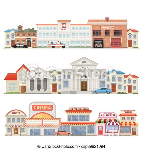 Pueblo, grande, contornos, tres, coloreado. Pueblo, ciudad ...