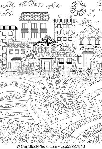 Ciudad Acogedora Para Libros De Colorear