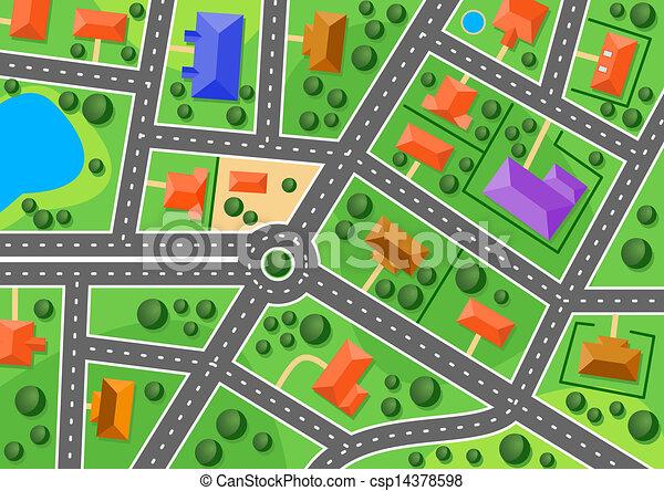 Mapa de los suburbios o pueblo pequeño - csp14378598