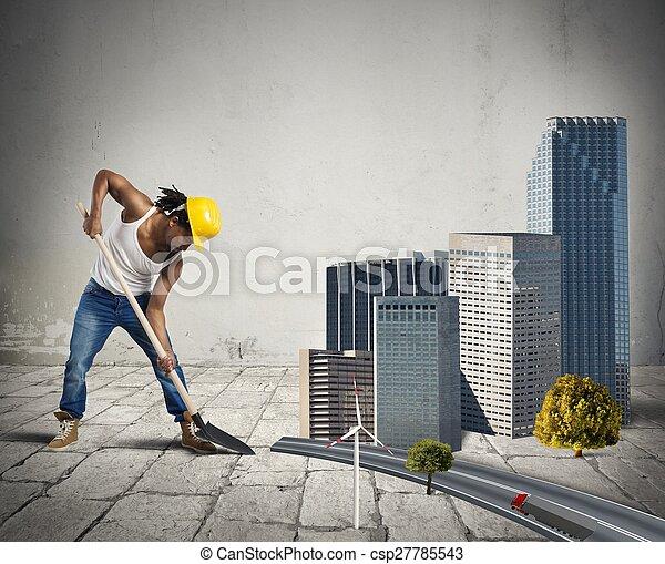 Construir un pueblo pequeño - csp27785543