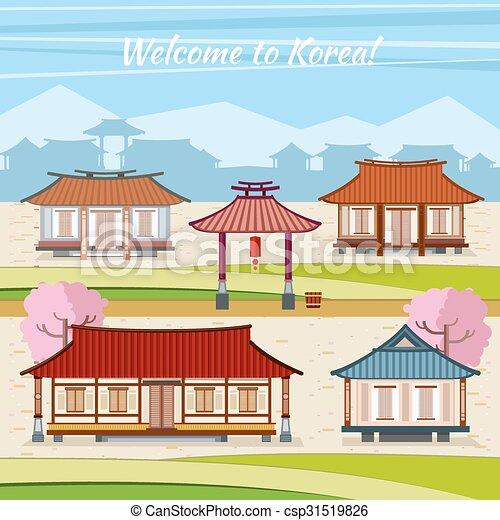 Pueblo plano estilo viejo houses tradicional vector - Casa asia empleo ...