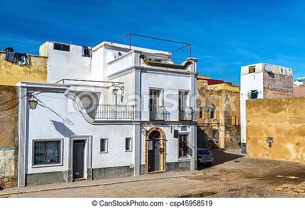 Edificios en la ciudad portuguesa de Mazagan, el jadida, Marruecos - csp45958519