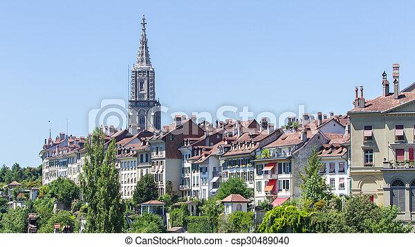 Vista al encantador pueblo de Berna, Suiza - csp30489040
