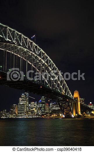 El puente del puerto de Sydney y los puntos de referencia en Australia por la noche - csp39040418