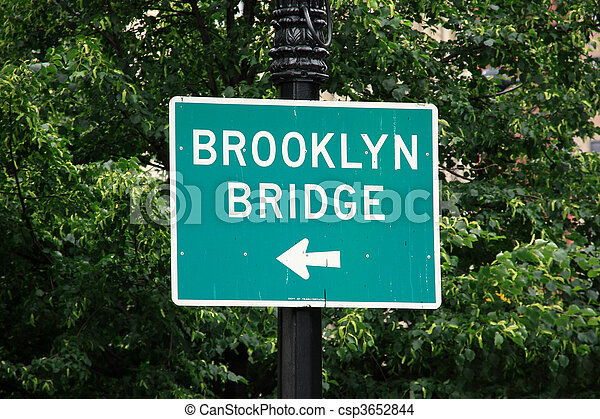 El letrero de la calle Bridge de Brooklyn - csp3652844