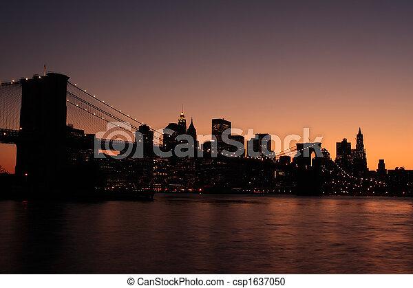 puente, brooklyn, silueta - csp1637050