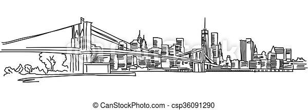 Nuevo panorama con el puente Brooklyn - csp36091290