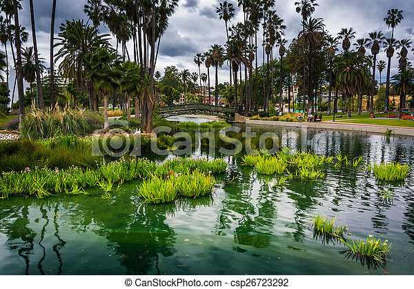 puente, califo, angeles, hierbas, encima, parque, eco, los, lago - csp26723292