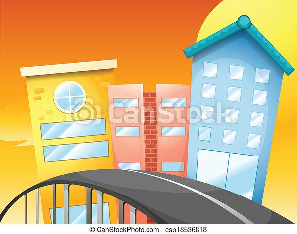 puente, edificios, alto - csp18536818