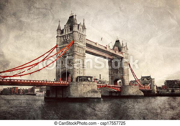 El puente de la Torre en Londres, Inglaterra, el Reino Unido. Estilo antiguo - csp17557725