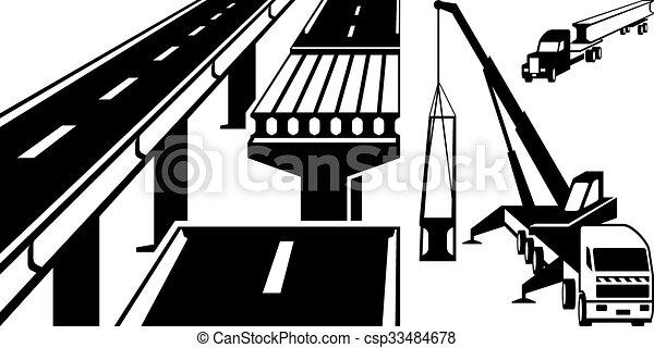 La grulla monta el puente de concreto - csp33484678
