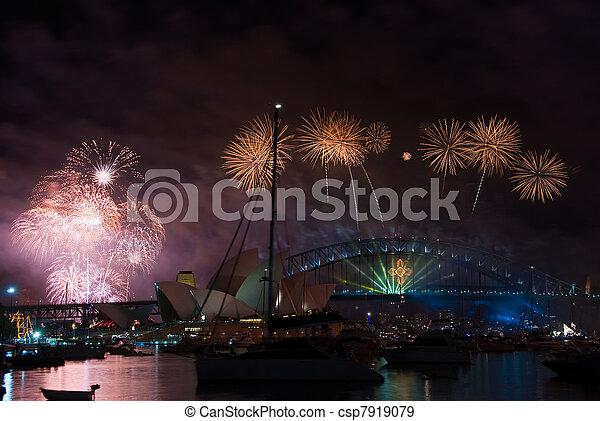 El puente del puerto de Sydney el año nuevo - csp7919079