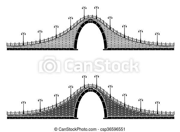 Un antiguo puente de arco de piedra - csp36596551