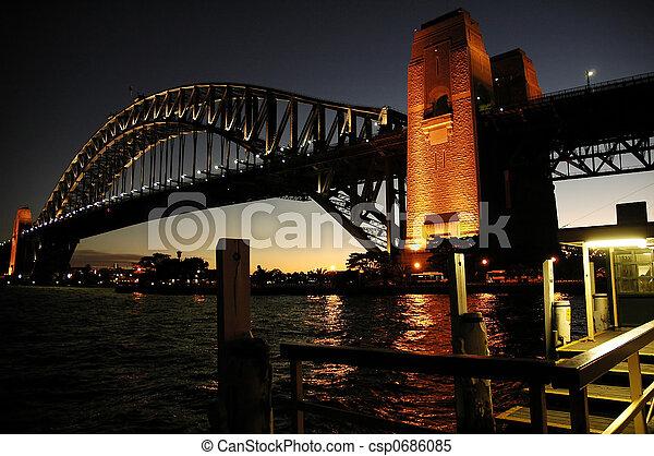 El puente del puerto por la noche - csp0686085