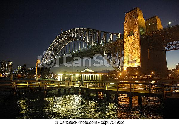 Puente de puerto por la noche - csp0754932