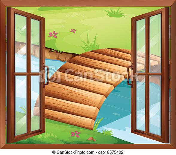 Una ventana que da al río con un puente - csp18575402