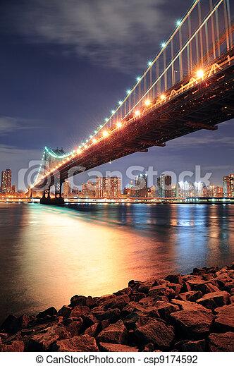 Nueva York, puente Manhattan - csp9174592