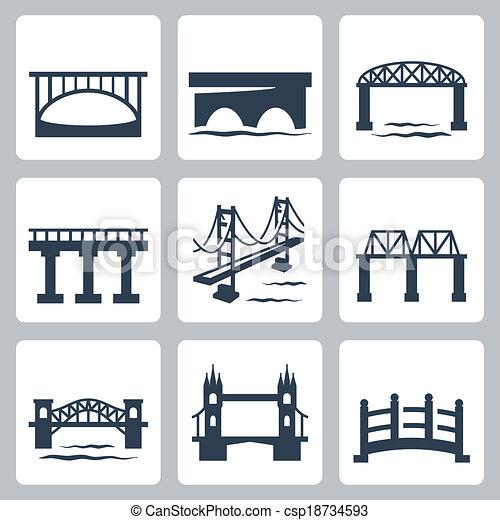 puentes, vector, conjunto, aislado, iconos - csp18734593
