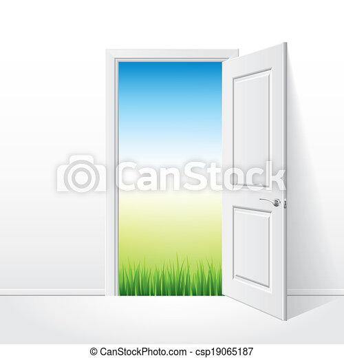 Puerta blanca abierta y ilustración de vectores naturales - csp19065187