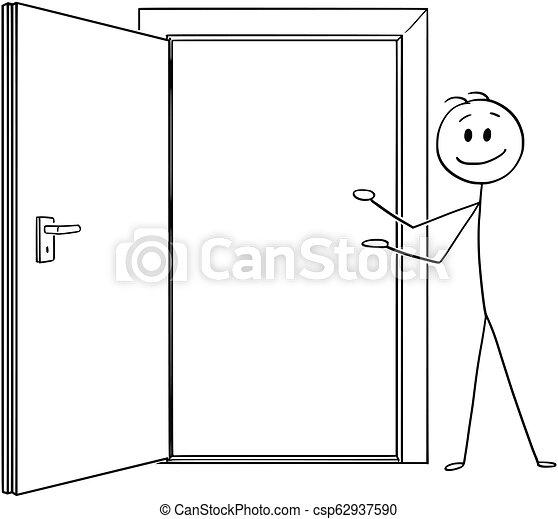 Caricatura de hombre o hombre de negocios invitando a entrar por la puerta abierta - csp62937590