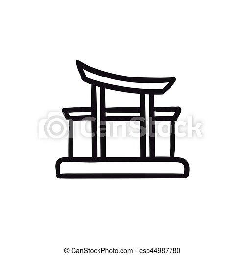 El icono del bosquejo de Torii. - csp44987780